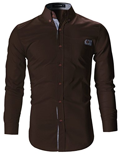 FLATSEVEN Mens Slim Fit Plaid Pointed Casual Dress Shirts (SH1780) Brown, L