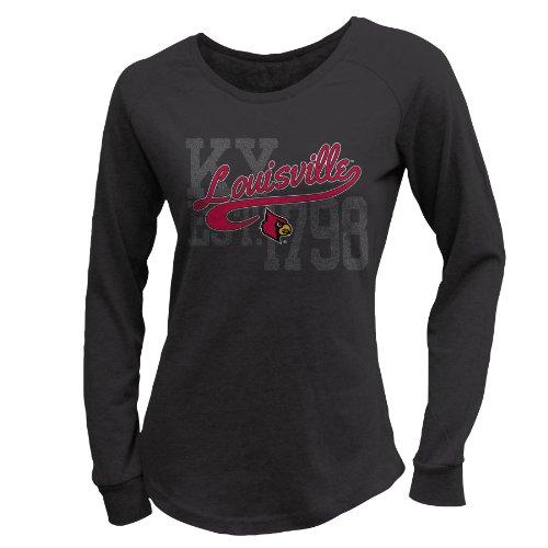 NCAA Louisville Cardinals W Scoop Neck Long Sleeve Tee, L, - Sleeve Long Louis Cardinals