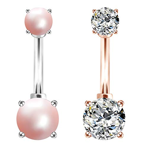 COCHARM 2PCS 14G 316L Surgical Steel Belly Button Rings Pearl Navel Rings Clear CZ Navel Bars Navel Piercing Set