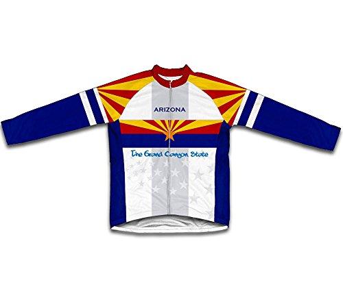 ScudoPro Arizona Flag Long Sleeve Cycling Jersey for Men - Size L (Cycling Arizona Jersey)