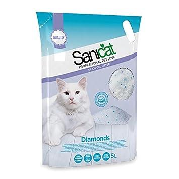 Sanicat - Cama de arena de sílice absorbente para gatos. Volumen por bolsa: 5 l. Volumen total: 60 l: Amazon.es: Hogar
