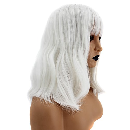 (Anogol White Women's Halloween Cosplay Wig Bob Short Costume Wigs With Bangs for Party)