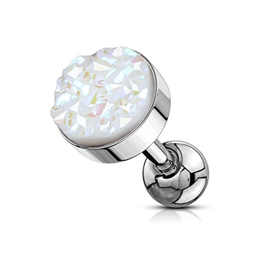 MoBody 16G Synthetic Druzy Stone Tragus Earring Surgical Steel Cartilage Barbell Helix Piercing Stud (1.2mm) (White)