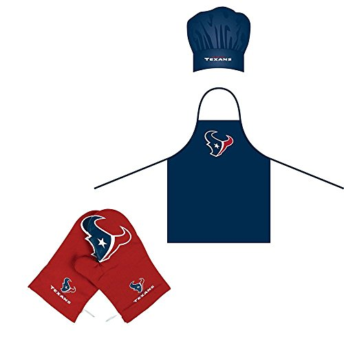 Football Bbq Apron - Amirshay, Inc. Houston Texans NFL BBQ Apron, Chef's Hat with Crossover Oven Mitts