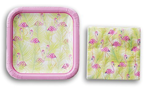 9' Square Luncheon Plate (Pink Spring Flamingos Party Supply Kit - Napkins and Plates)