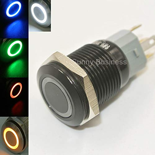 - Tamaha - 6V 12V 24V 110V 220V LED Locking 16mm Waterproof Black Switch witch Latching push button - (Color: Yellow, Voltage: 12V)