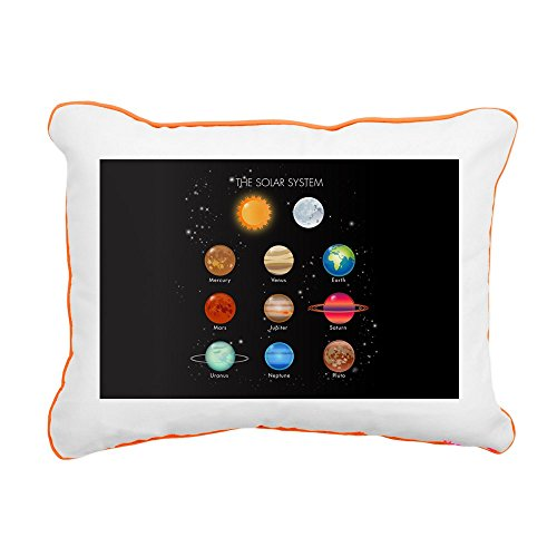 Rectangular Canvas Throw Pillow Orange Solar System Sun Moon and Planets by Royal Lion