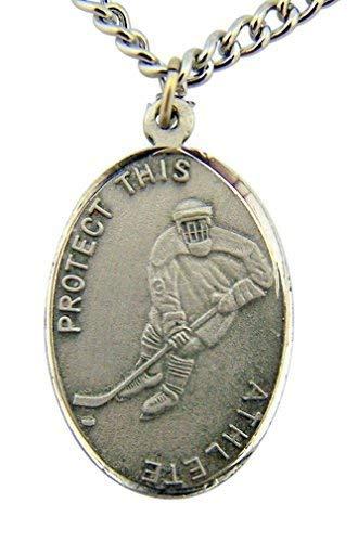 WJH Silver Tone Patron of Sports Saint Sebastian Hockey Athlete Medal, 1 Inch