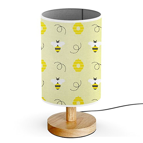 ArtLights - Wood Base Decoration Desk / Table / Bedside Lamp [ Bee With Flowers ]