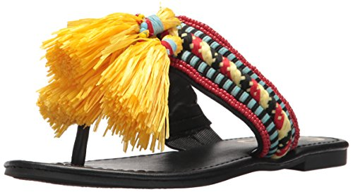 Circus by Sam Edelman Women's Bella Flat Sandal, Black/Multi, 8.5 Medium US (Raffia Flats)