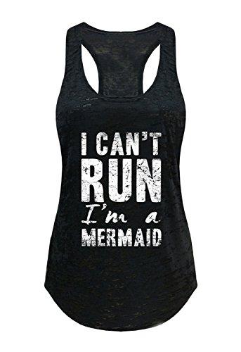 Tough Cookie's Women's I Can't Run, I'm A Mermaid Burnout Tank Top (Large - LF, Black)