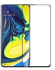 شاشة حماية زجاجية كاملة لهاتف سامسونج جالكسي A80 - إطار اسود