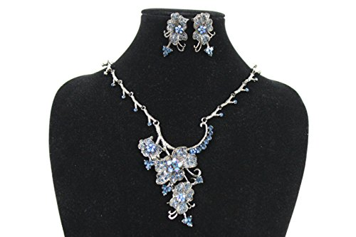 Miley Cyrus Costume Online (TFJ Women Dressy Fashion Pewter Metal Chains Necklace Fancy Jewelry Blue Beads Rhinestones Pendant Earrings Set)