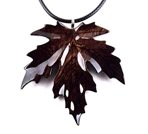 (Maple Leaf Pendant Necklace Wood Jewelry Hand Carved in Desert Ironwood)