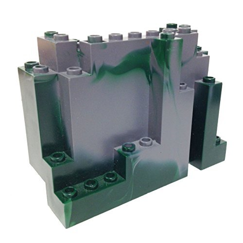 Lego Parts: Mountain Brick 4 x 10 x 6 Rock Panel Rectangular (BURP) (Marbled Dark Green Pattern)