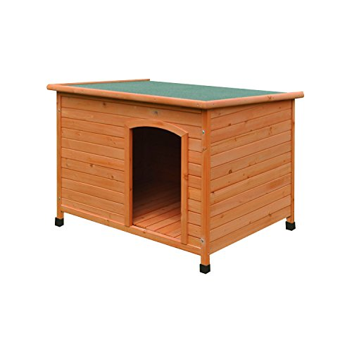ALEKO DH46X31X31WD Large Weatherproof Dog Kennel Pine Pet Shelter with Elevated Floor 46 X 31 X 31 Inches