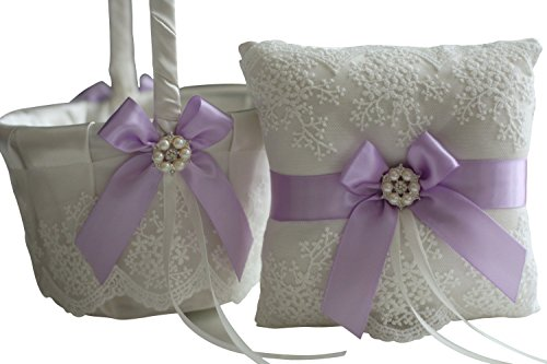 Alex Emotions | Lace Collection | Ivory Lilac Lavender Ring Bearer Pillow & Wedding Basket - Ribbon Ring Pillow