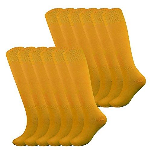 Musical Baseball (Fitliva Tube Dresses Over The Knee Girls Boys Soccer Team Uniform Football Socks(12Pack-Orange))