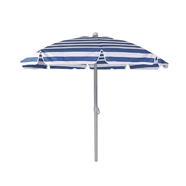 Ombrellone spiaggia diametro cm 180 colore blu e bianco custodia a tracolla 1 spesavip