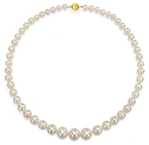 14k Yellow Gold Graduated 6-11mm White Freshwater Cultured High Luster Pearl Ballclasp Necklace, 18
