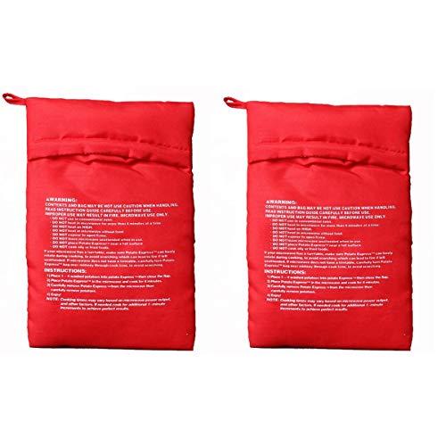Bangbuy Microwave Potato Bag, 2 Pack of Reusable Microwave Cooker Bag Baked Pouch Potato Bag, Red