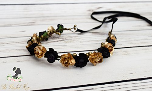 Handcrafted Black and Gold Flower Crown - Black and Gold Wedding Accessory - Woodland Halo - Bridesmaid Flower Wreath - Small Rose Crown