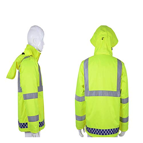 GSHWJS- trash can Reflective Cotton Jacket Winter Traffic Duty Warning Safety Jacket Detachable Cotton Suit, Green Reflective Vests (Size : S) by GSHWJS- trash can (Image #4)