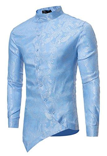 Paisley Fitted Shirt (HOP Men's Casual Long Sleeve Irregular Longline Hem Slim Fit Paisley Button Down Dress Shirt Bandanna Embrodiery HOPM010-Blue-M)