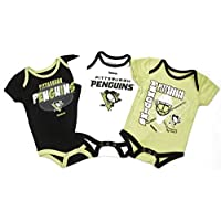 Pittsburgh Penguins Baby / Infant  3 Point Spread  3 Piece Creeper Set 6-9 Months