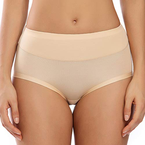 Invisible Best Fitting Hipster Panties for Women Quick Dry Breathable Underwear 2 Pack Full Coverage Brief Panty Classic Seamless (Beige, Large)