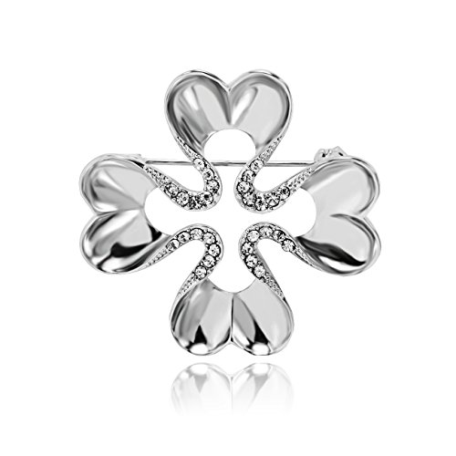 (PANGRUI Exquisite Heart Shaped Clovers Brooch Pin,Symbolize Good Luck,You're Worth It)