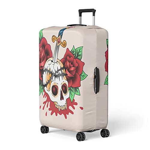 Semtomn Luggage Cover Color Traditional Symbolic Tattoo Dead Skull in Red Roses Travel Suitcase Cover Protector Baggage Case Fits 22-24 Inch