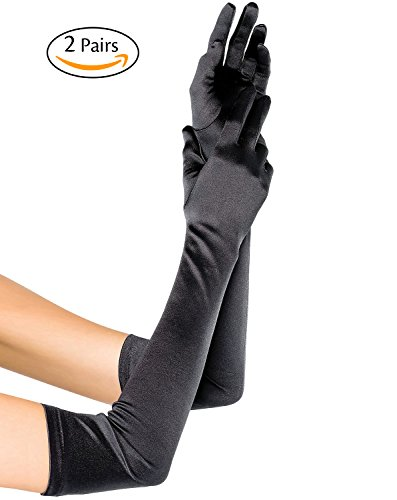 Oryer 2 Pairs Womens Satin Gloves 21