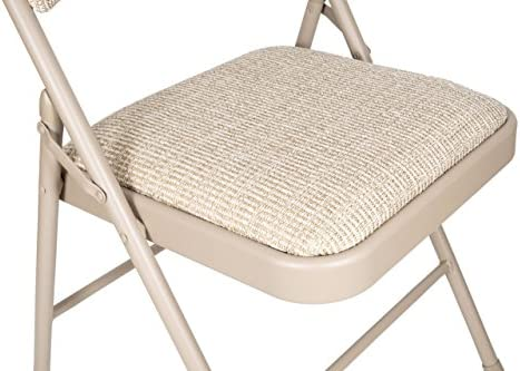 APEX GARDEN Deluxe Fabric Padded Folding Chair Set of 4 – Beige