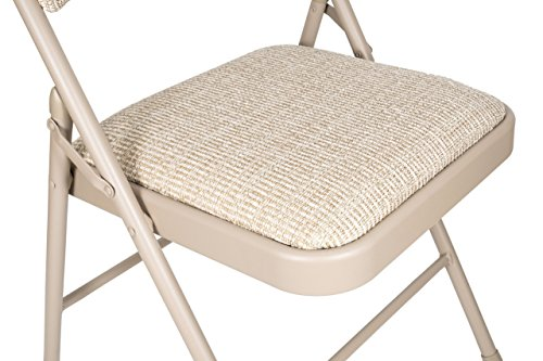 Deluxe Fabric Padded Folding Chair Set of 4 – Beige
