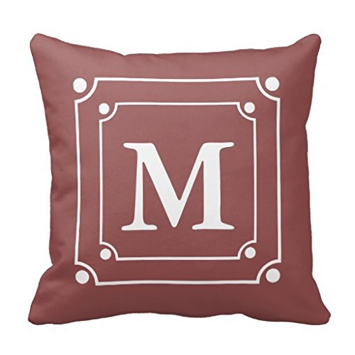 Custom Framed Monogram Solid Color Wine Red Throw Pillow Case (Wine Standard Monogram)