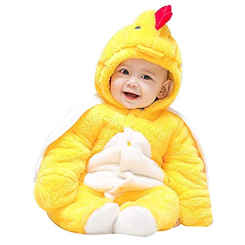 Mikistory Baby Boys Girls Romper Infant Jumpsuit Unisex 3D Animal Cosplay Costume Outfit Winter Hoodie Snowsuit (Yellow Chicken, 5-9months/Tag66) (Seven Of Nine Take Off Your Clothes)