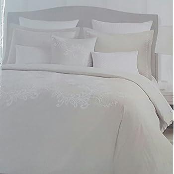 Tahari Bedding 3 Piece King Duvet Cover Set Embroidered Floral Botanical  Light Tan Cream Cotton 3