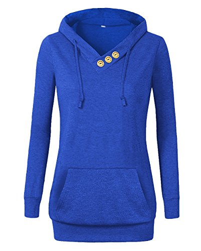 (Othyroce Women's Long Sleeve Button V-Neck Pockets Sweatshirts Pullover Hoodies Royal Blue L)