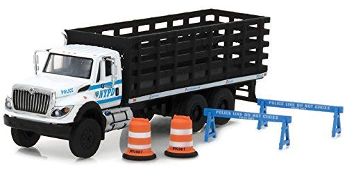 2017 International Workstar Platform Stake Truck New York City Police Department (NYPD) with Public Safety Accessories S.D. Trucks Series 3 1/64 Diecast Model by Greenlight 45030 B