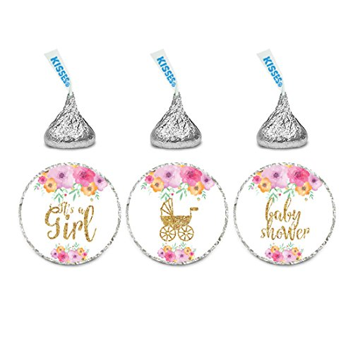 Andaz Press Chocolate Drop Labels Trio, Girl Baby Shower, Spring Floral Flowers with Printed Gold Glitter, Pink, 216-Pack