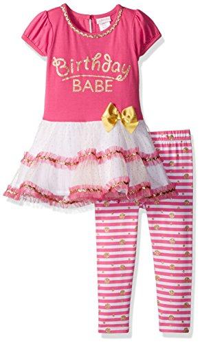 Youngland Little Girls' Birthday Babe' Tutu Mini Dress and Knit Printed Legging, Pink/White, (Babe Mini)