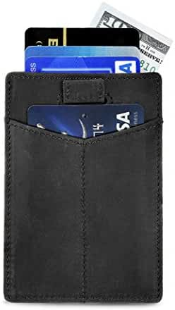 SERMAN BRANDS- RFID Blocking Credit Card Holder Bifold Slim Genuine Leather Thin Minimalist Front Pocket Wallets - Made From Full Grain Leather