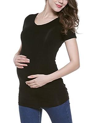 Bhome Maternity Shirt Short Sleeve Shirts Vneck Tshirt Side Ruched Tee Top