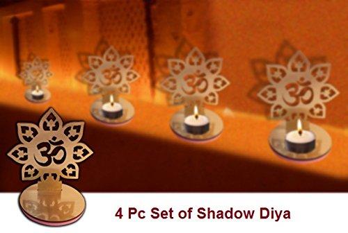 4 Pc Set Om Shape Diwali Shadow Diya. Deepawali Traditional Decorative Diya in Om Shape for Home/Office.Religious Tea Light Candle Holder Stand. Diwali Decoration Diwali Gift