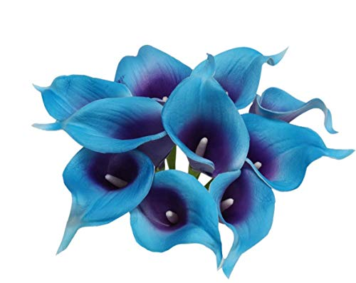 Angel Isabella 10pc Set Real Touch Calla Lily-Keepsake Artificial Flower Perfect for Cut to Make Boutonniere Corsage Bouquets (Blue Turquoise/Purple)]()