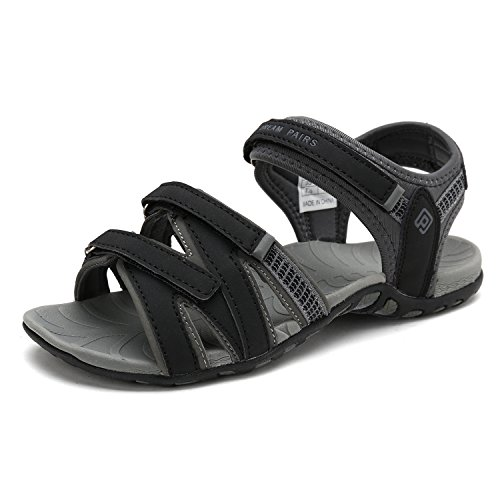 DREAM PAIRS Women's Kaiya_01 Black Grey Fashion Athletic Sandals Size 10 M US