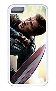 iPhone 5C Case, iPhone 5C Cases - Soft Rubber Armor Case Bumper for iPhone 5C Chris Evans Captain America Winter Soldier Soft Flexible Extremely Thin White Case for iPhone 5C