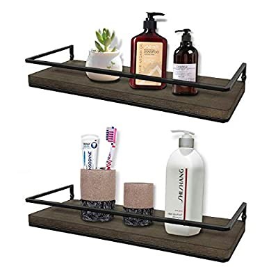 Minggoo Floating Shelves Wall Mounted Set of 2, Rustic Wood Wall Storage Shelves for Bedroom,Living Room,Bathroom, Kitchen - RUSTIC WOOD SHELVES: Made of real solid wood and metal, industrial look is simple and modern. Make use of the vertical space on the wall, not only increase storage space, but also add decoration and beauty. When these shelves make the messy picture clean and tidy, it will make you happy. VERSATILE WALL SHELF: In bathroom, storage shelf can hold skincare items such as shampoo, conditioner, shower gel, lotions and perfumes. In kitchen, the shelf can be used to put spice and seasoning bottles. Also can be used in dining room, bedroom, living room and office. STURDY & DURABLE:The overall structure is very stable and durable. Structure innovation is designed by our experienced designers, with good load bearing capacity and farmhouse look can be used for years. Protective bar is a plus preventing anything from falling off. - wall-shelves, living-room-furniture, living-room - 41sibocf0bL. SS400  -