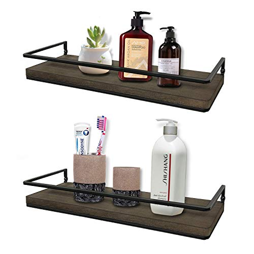 Minggoo Floating Shelves Wall Mounted Set of 2, Rustic Wood Wall Storage Shelves for Bedroom,Living Room,Bathroom, Kitchen (Wood Shelves Bathroom Wall)